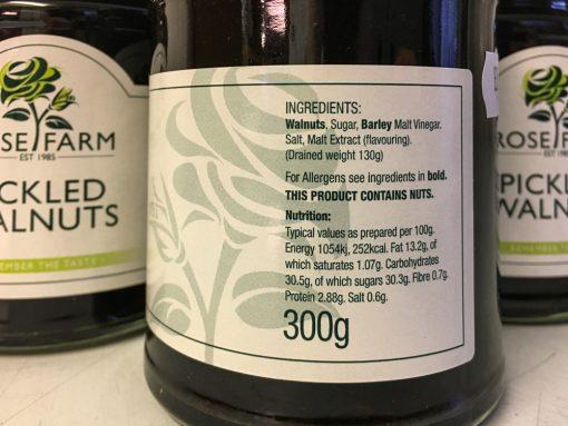 Rose Farm Pickled Walnuts label