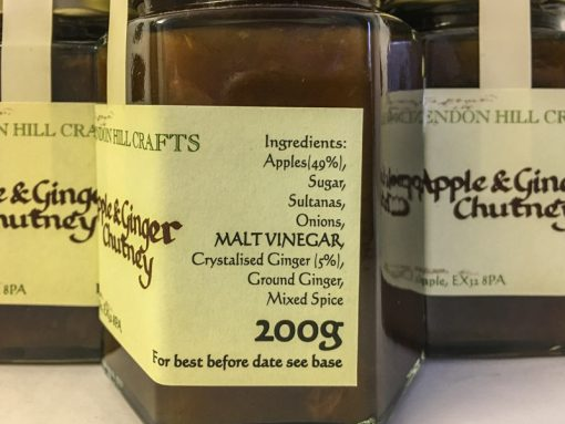 Brendon Hill Crafts Apple & Ginger Chutney label