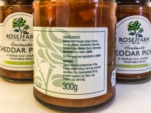 Rose Farm Cheddar Pickle label