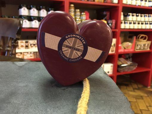 Godminster heart shaped cheddar