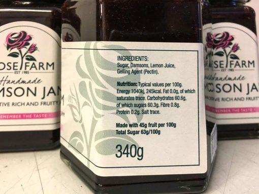 Rose Farm Damson jam label