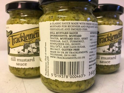 Tracklements Dill Mustard Sauce label