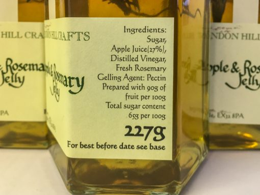 Brendon Hill Crafts Apple & Rosemary Jelly label