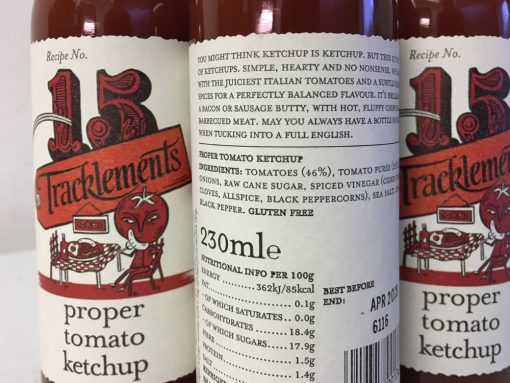 Tracklements Proper Tomato Ketchup label