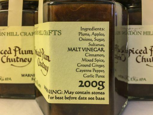 Brendon Hill Crafts Spiced Plum Chutney label