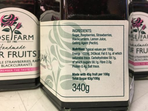 Rose Farm Summer Fruits Jam label