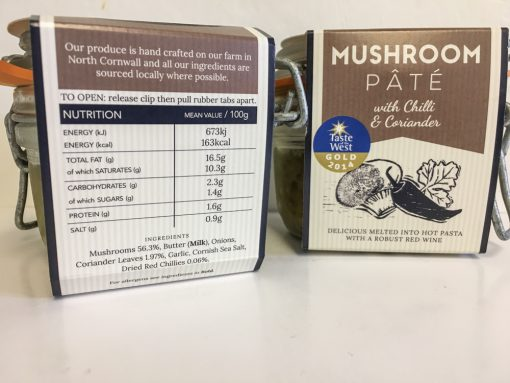 Cornish Charcuterie Mushroom Pate label
