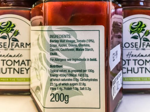 Rose Farm Hot Tomato Chutney Label