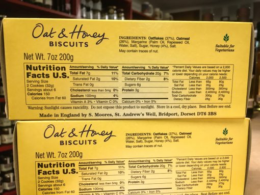 Moores Wheat Free Oat & Honey Biscuits Label