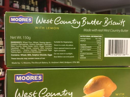 Moores W.Country Butter Biscuits Label